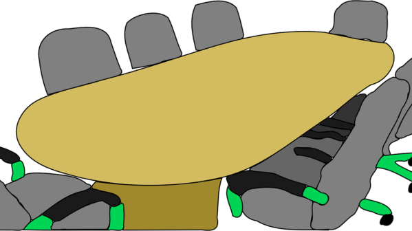 Clip art of a large conference table with chairs around it.