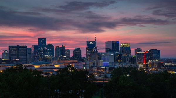 Evening skyline view of downtown Nashville TN