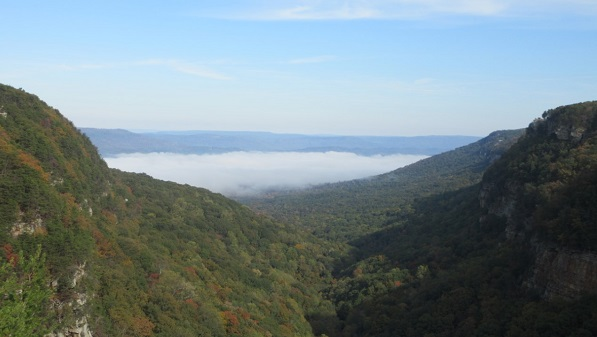 View of clouds from Cloudland Canyon