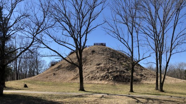 72 foot tall Indian Mound with no trees