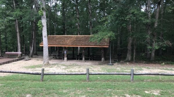 Lawn in front with covered picnic shelter at the edge of woods