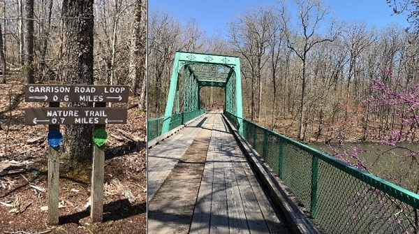 Garrison Road Loop and Nature Trail signs; bridge at Old Stone Fort