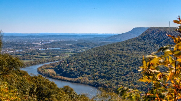 View overlooking river and wooded plateaus