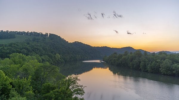 Aerial view of river in woods at sunrise